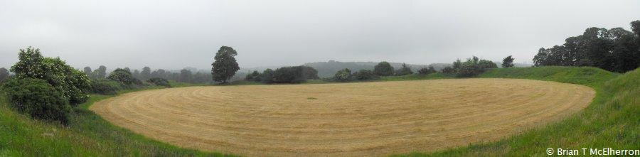 Panoramic view of the interior of Dowth Henge